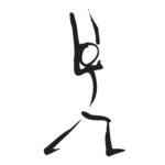 Stick figure drawing of warrior 1 yoga pose