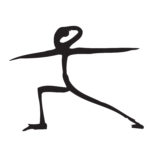 stick figure drawing of warrior 2 yoga pose