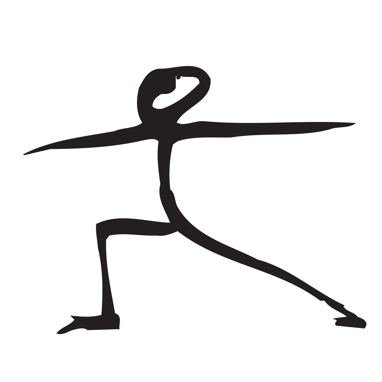 stick figure drawing of warrior 2 yoga pose