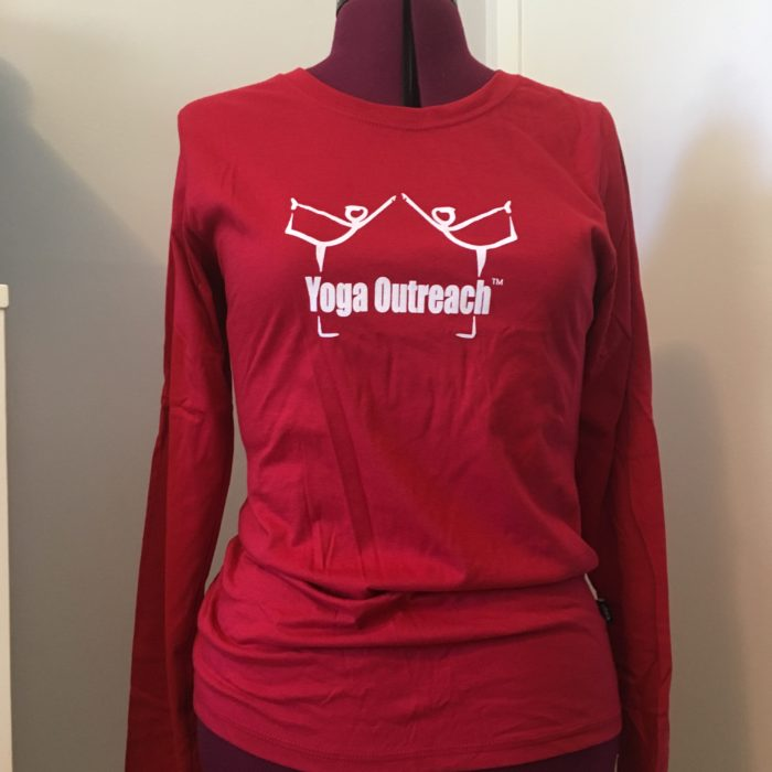 red long sleeved t-shirt with the yoga outreach logo on it