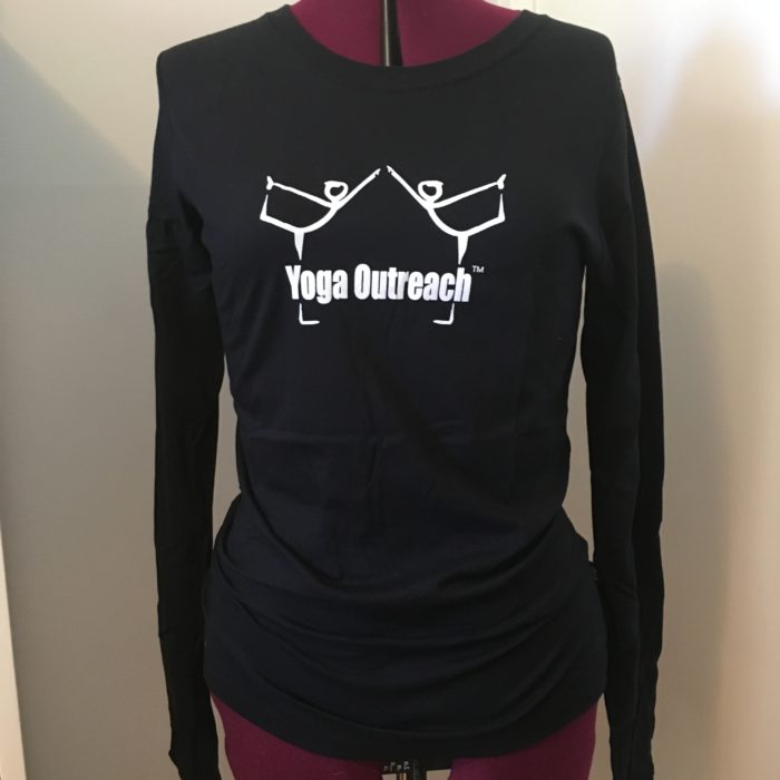 Black organic cotton long sleeved logo tee shirt