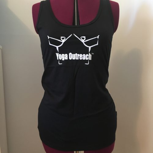 black tank top with the yoga outreach logo on it
