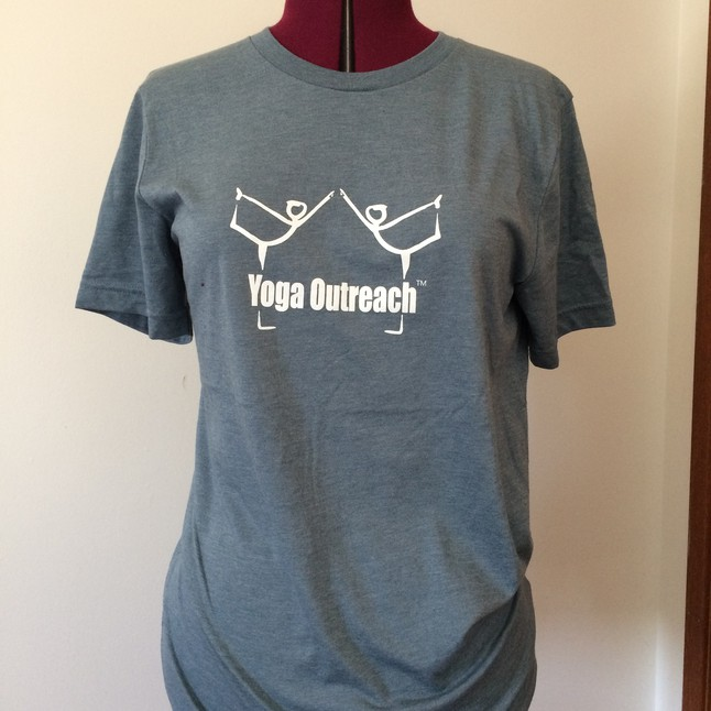 Heather Slate Grey Unisex tshirt with Yoga Outreach logo