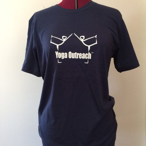 Navy Yoga Outreach Logo unisex tee