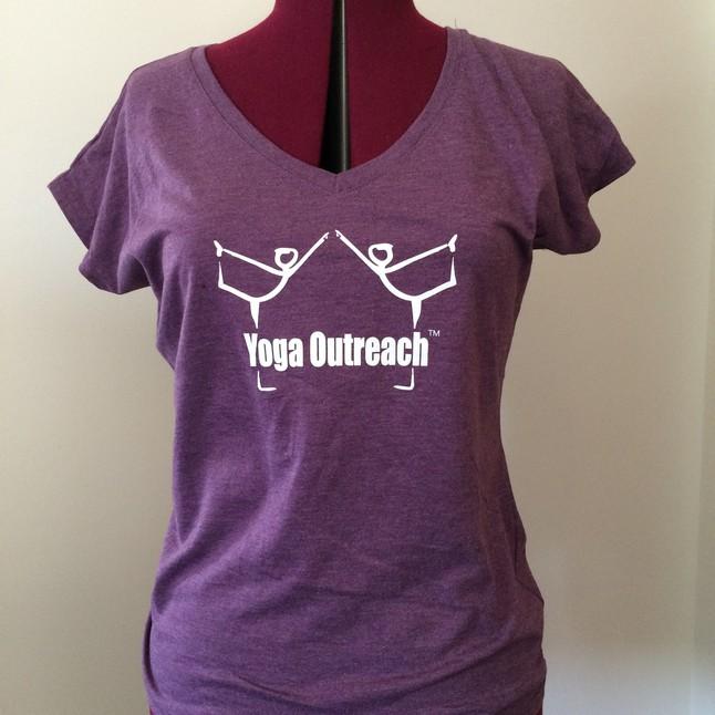 Heather aubergine v neck tee with yoga outreach logo
