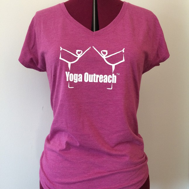Raspberry v neck tee with yoga outreach logo