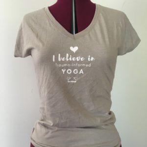 Stone v neck tee with yoga outreach logo