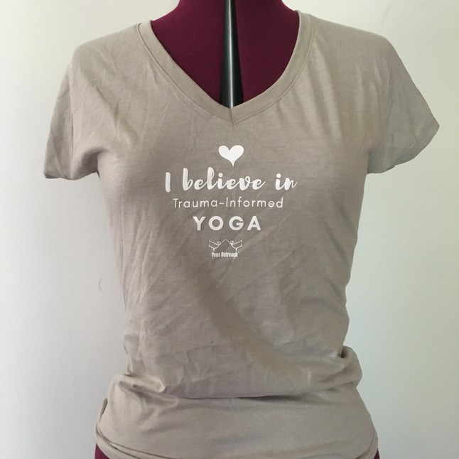 Stone v neck tee with yoga outreach logo