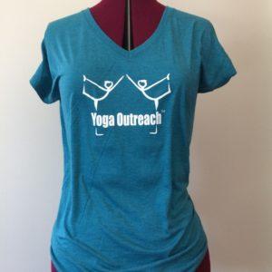Galapagos v neck tee with yoga outreach logo