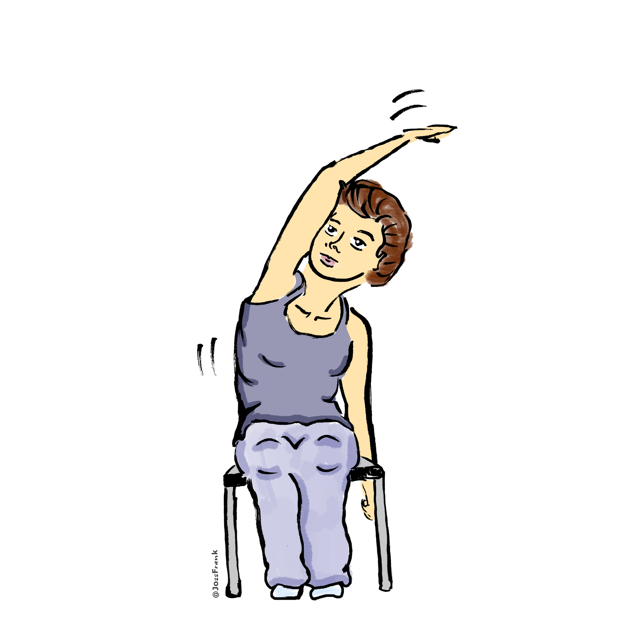 a gender neutral person with light skin and short red hair sitting in a chair doing a side stretch with one arm raised over the head.