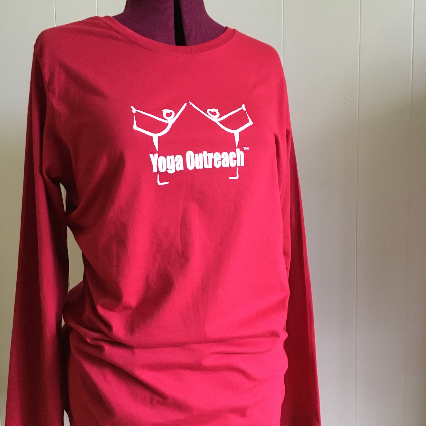 red org. cotton long sleeved tee