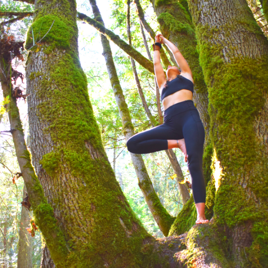 Yoga teacher and Boxing Coach, Ivy Richardson practices tree form in the forests of Vancouver Island.